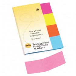 PAGE MARKER NEON CLR 20X50 MB NOTES MARBIG NEON CLEAR PK160